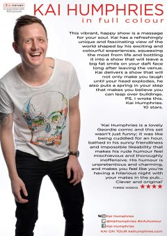 Kai Humphries In Full Colour Edinburgh Fringe 2016 flyer reverse