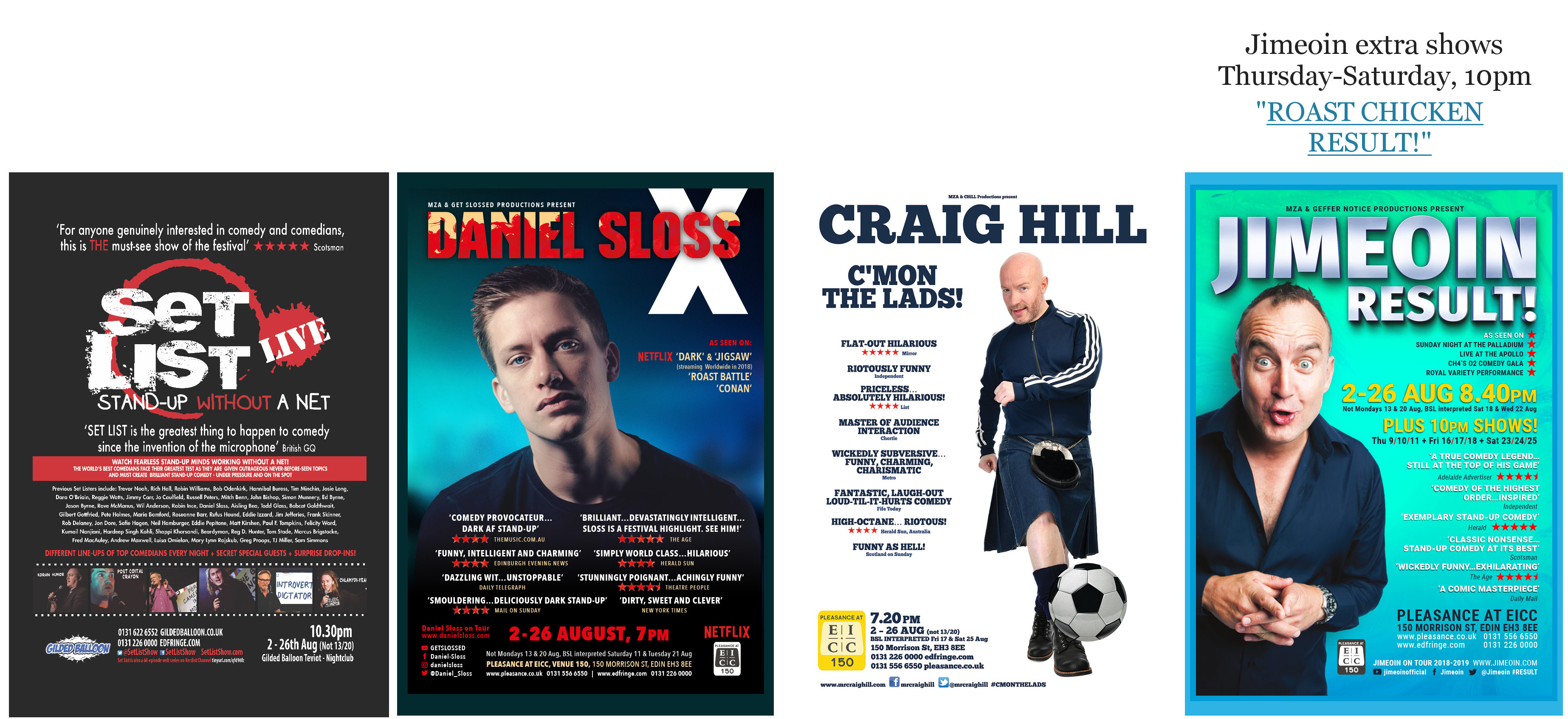 MZA Edinburgh Fringe 2018 posters part 1