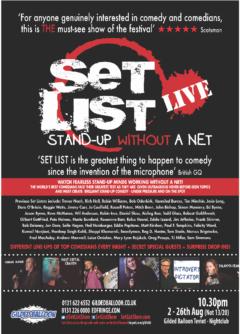 SET LIST Edinburgh 2018 poster